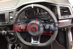 dsg vw t6 flat bottom rline golf white stitch steering wheel