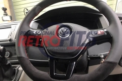 vw t6 custom alcantara flat bottom steering wheel retrim red stitch  dsg upgrade  5