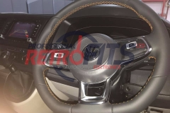vw t6 custom flat bottom steering wheel retrim orange stitch