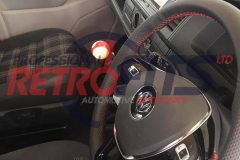 vw t6 custom flat bottom steering wheel retrim red stitch 1