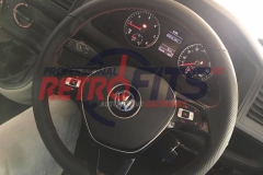 vw t6 custom flat bottom steering wheel retrim red stitch