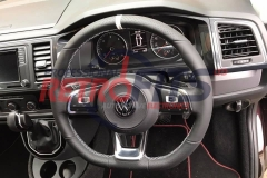 vw t6 flat bottom rline golf white stitch steering wheel  dsg