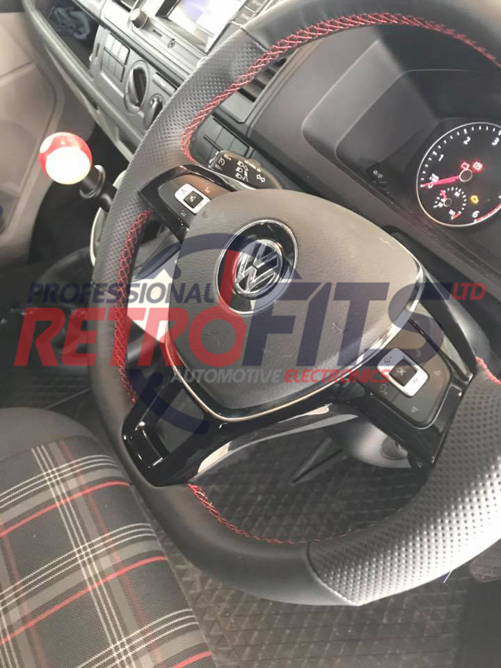 vw t6 custom flat bottom steering wheel retrim red stitch 3