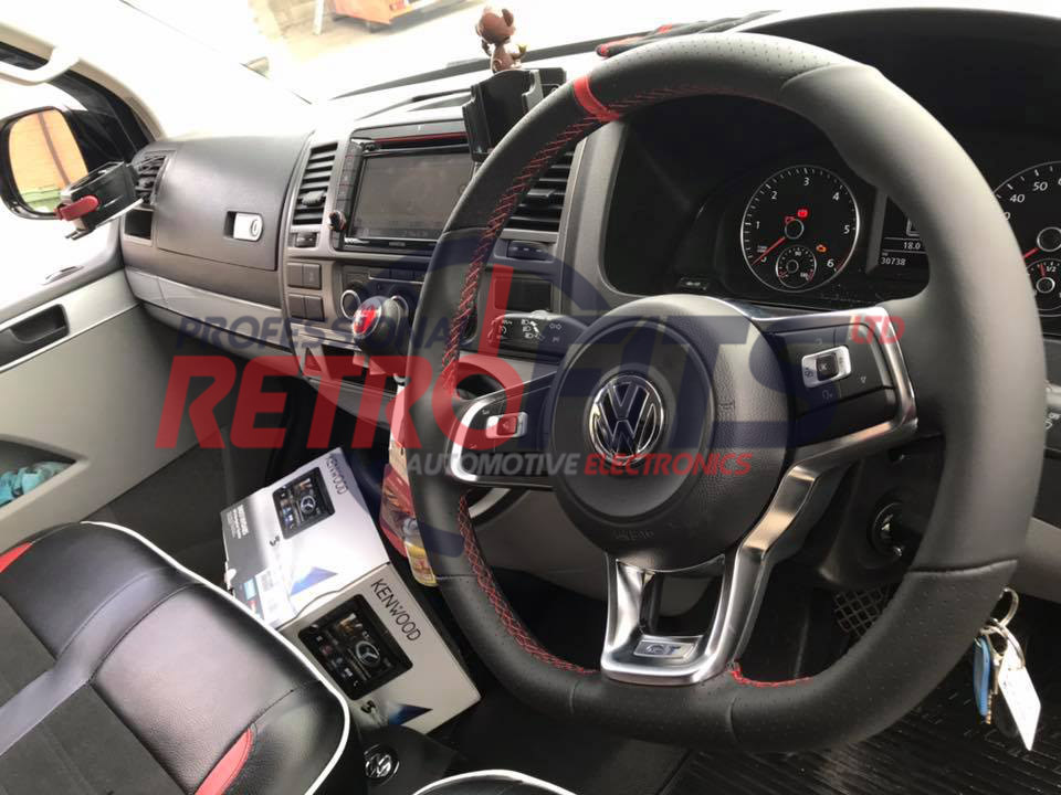 vw t6 flat bottom rline golf red stitch steering wheel 1