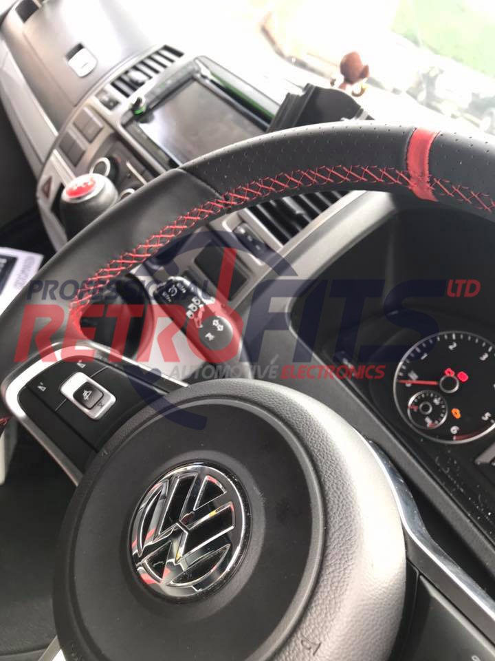 vw t6 flat bottom rline golf red stitch steering wheel gti