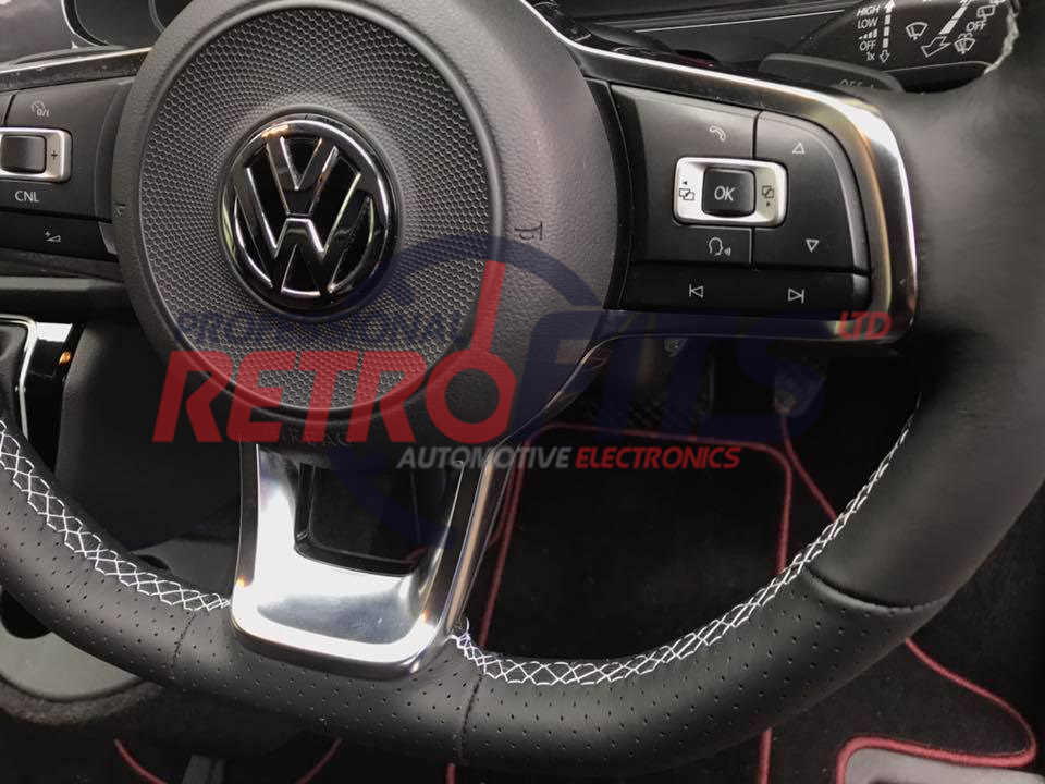 vw t6 flat bottom rline golf white stitch steering wheel 1