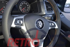 vw t6 custom flat bottom steering wheel retrim orange stitch silver trim  dsg