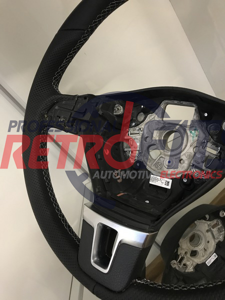 vw t5 leather steering wheel grey stich (4)