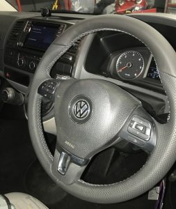 grey stitch vw t5 re trimmed leather multifunction steering wheel